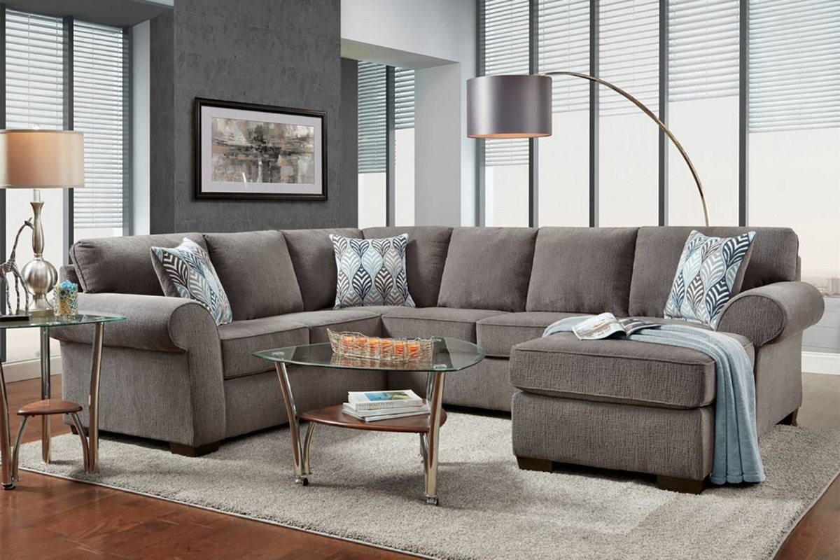 Chelsea Home Roosevelt Chaise Sectional Smoke