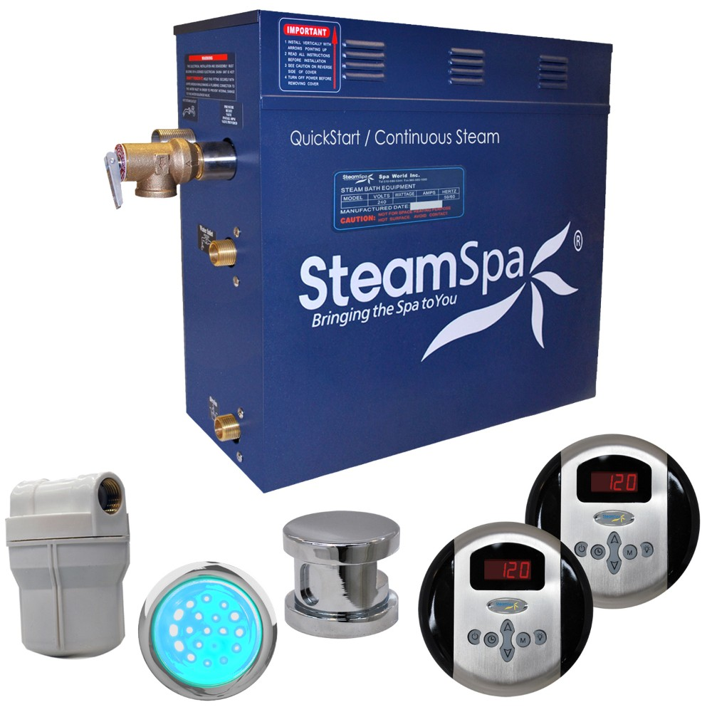 Steamspa Royal Steam Bath Generator Package Polished Chrome