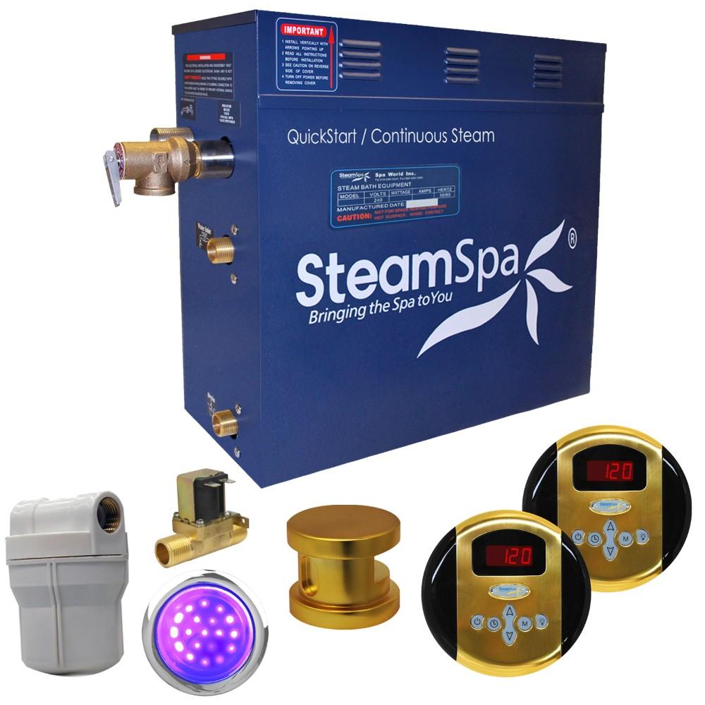 Steamspa Royal Steam Bath Generator Package Built Auto Drain Polished Gold