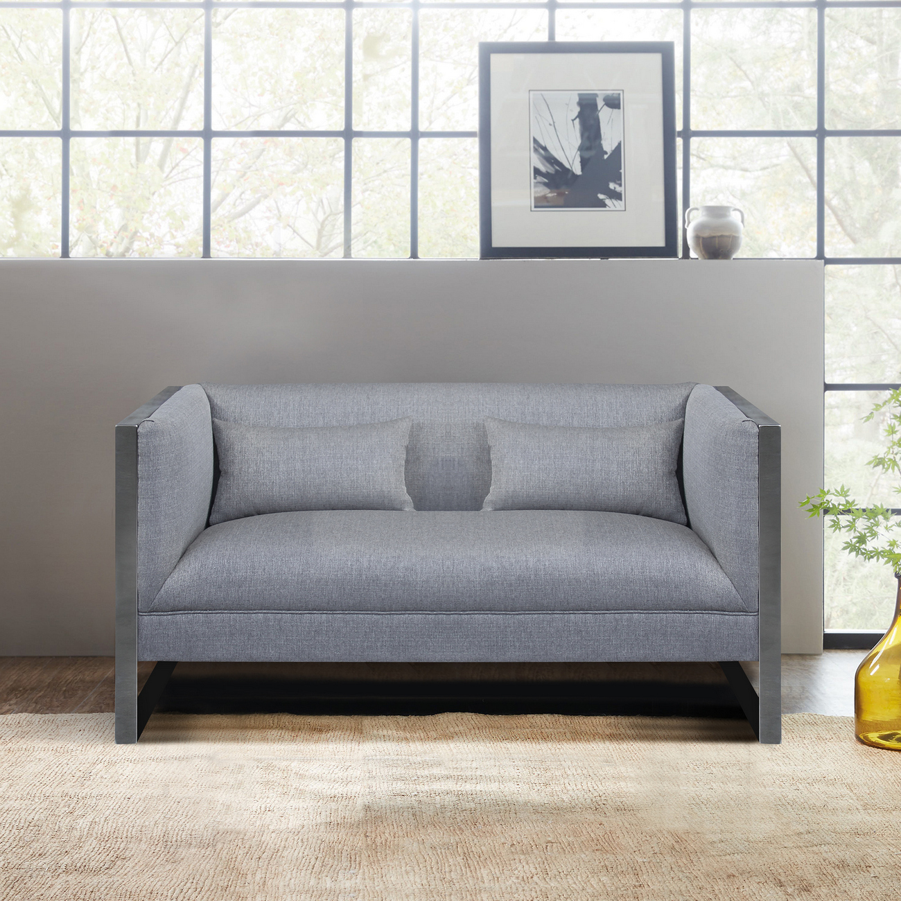 Armen Living Royce Contemporary Loveseat Polished Stainless Steel Grey Fabric