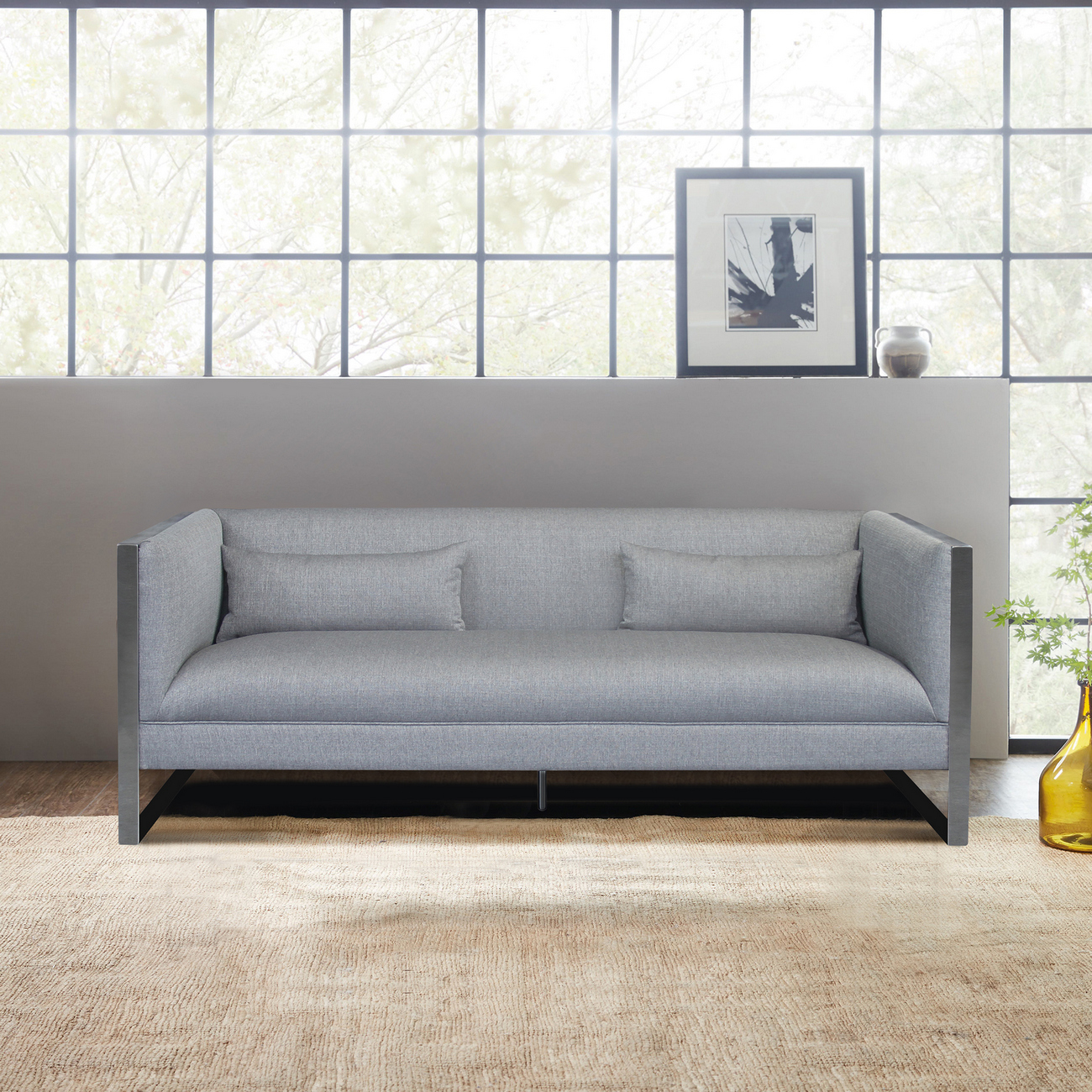 Armen Living Royce Contemporary Sofa Polished Stainless Steel Grey Fabric