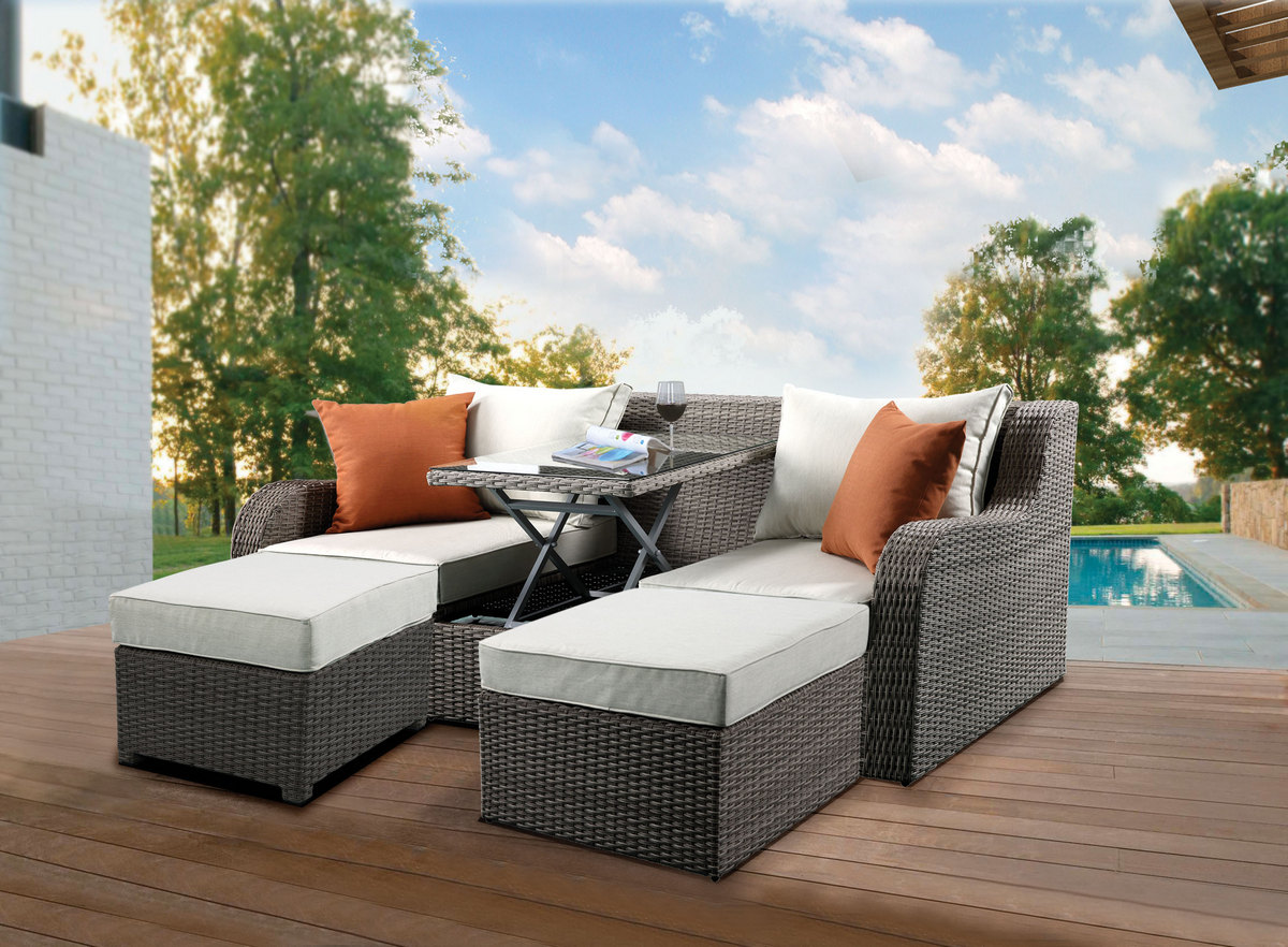 Acme Salena Patio Sectional Ottomans Pillows Beige Fabric Gray Wicker