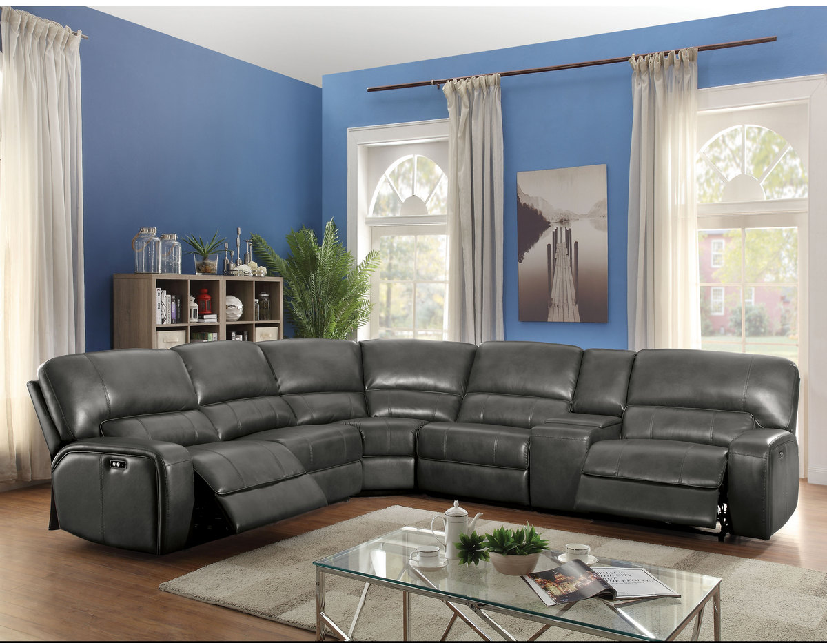 Acme Furniture Saul Sectional Sofa (Power Motion/USB Dock) in Gray Leather-Aire - 53745