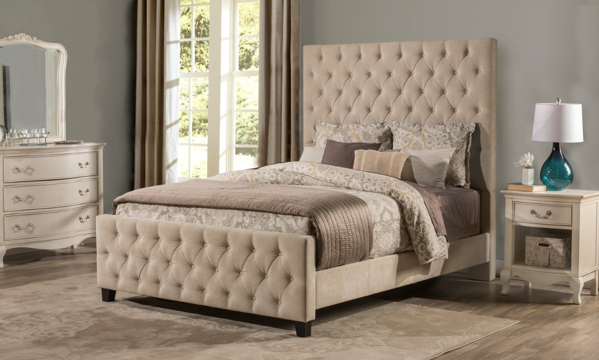 Hillsdale King Bed Beige Fabric Rails Included