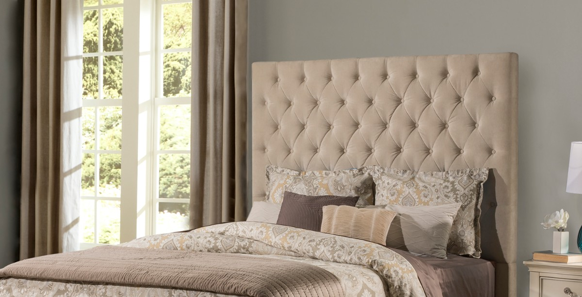 Hillsdale King Headboard Beige Fabric Metal Frame