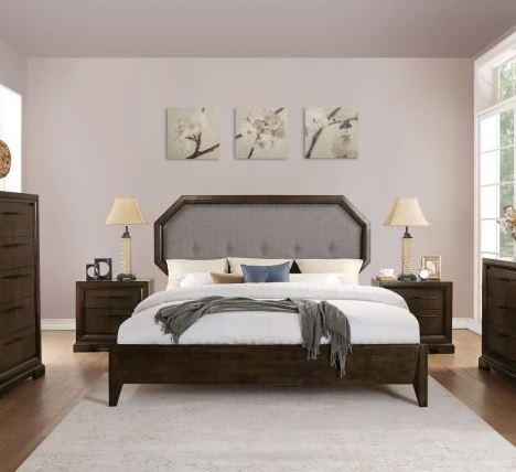 Acme Eastern King Bed Light Gray Fabric Tobacco