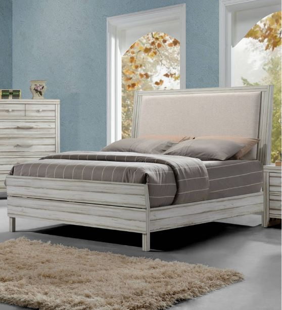 Acme Shayla Eastern King Bed Fabric Antique White