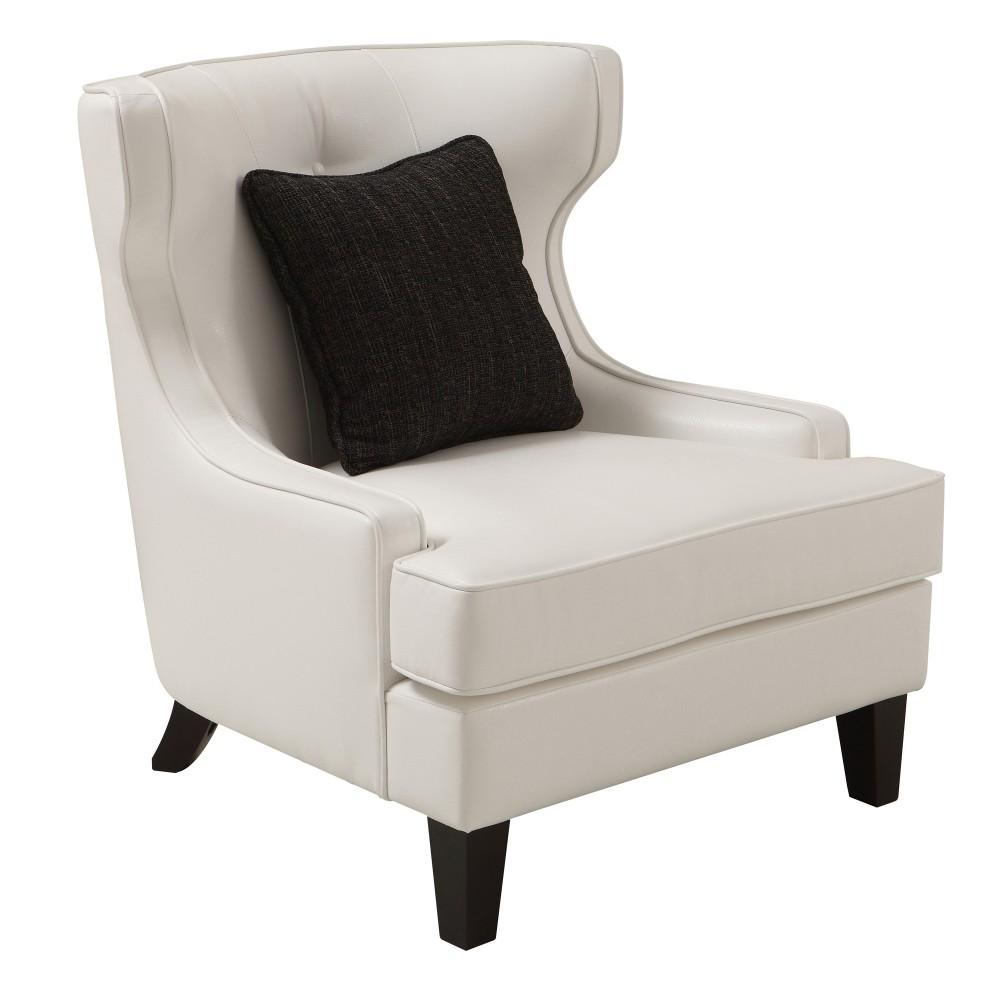 Armen Living Skyline Chair White Bonded Leather