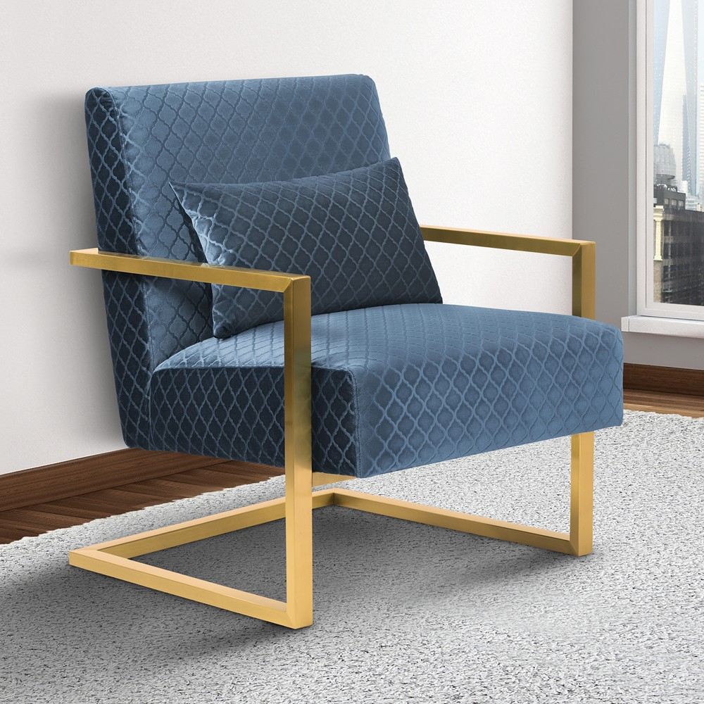 Armen Living Skyline Contemporary Accent Chair Blue Velvet Gold