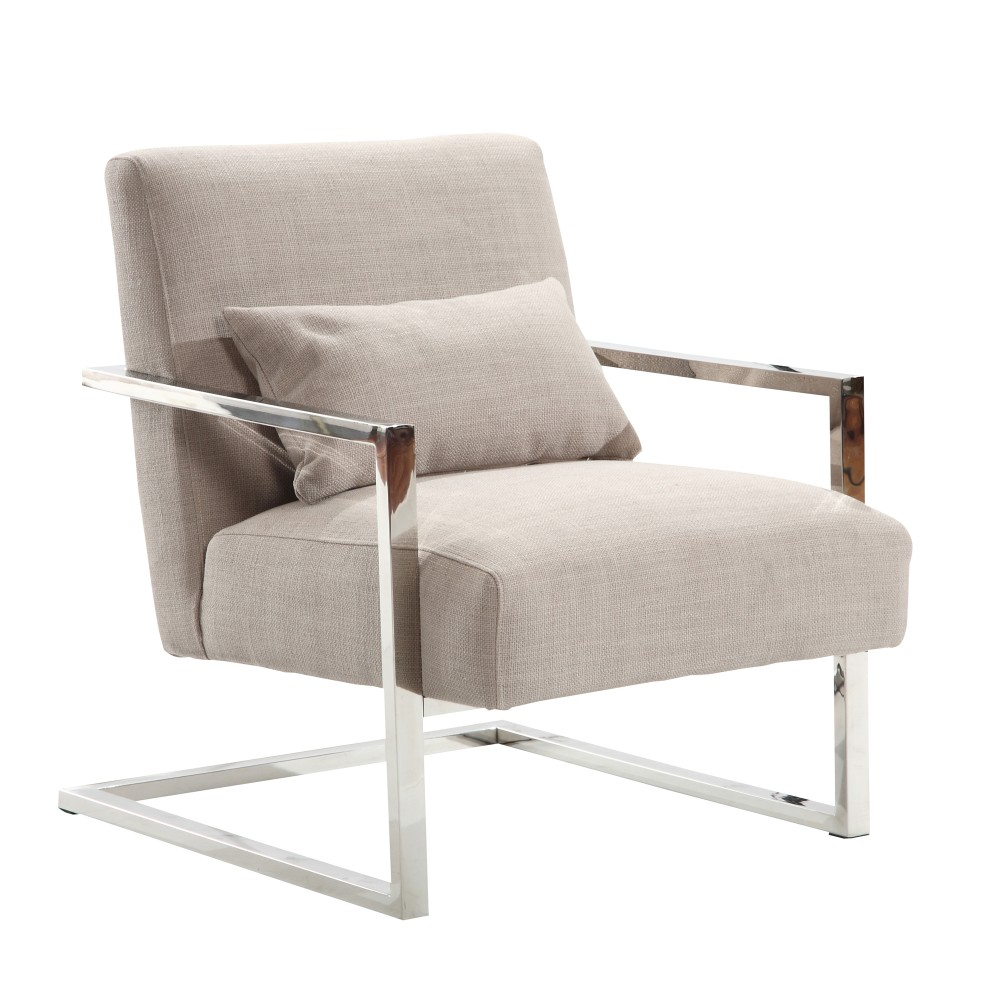 Armen Living Skyline Modern Accent Chair Gray Linen Steel