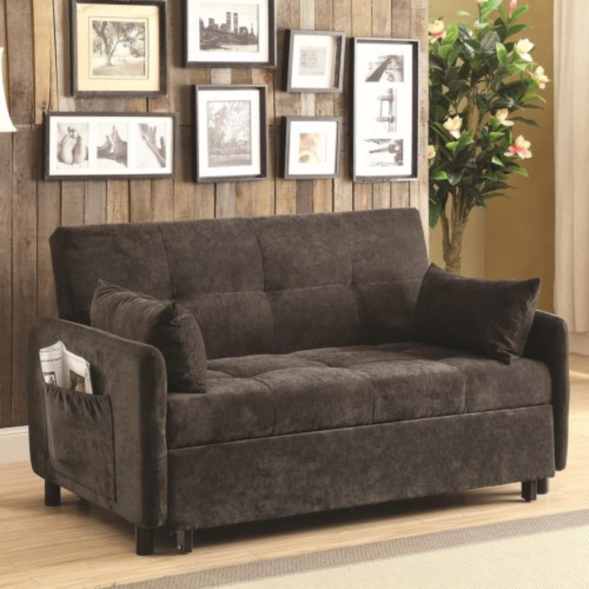 Coaster Sofa Dark Brown Pull Out Bed