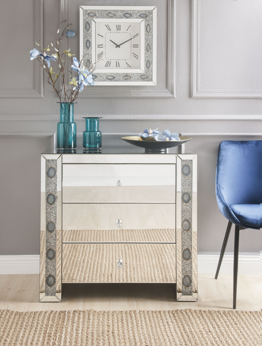 Acme Sonia Console Table Mirrored Faux Agate