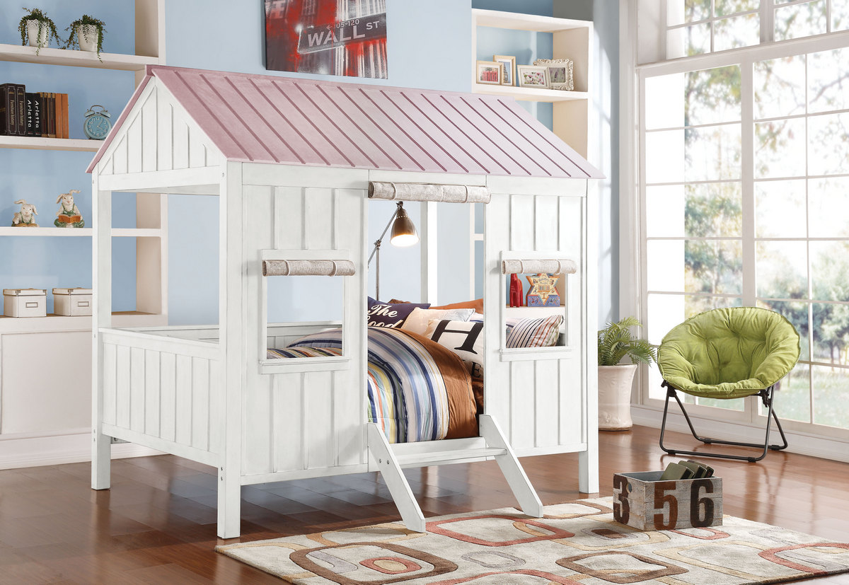 Acme Spring Cottage Full Bed White Pink