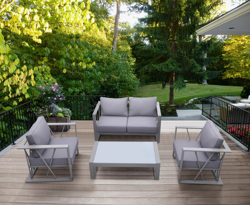 Armen Living Bars Outdoor Patio Aluminum Set Grey Fabric Cushions