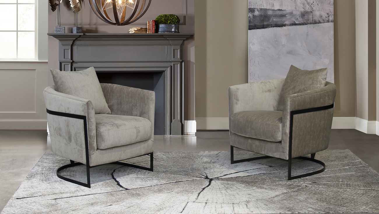 Armen Living Swan Contemporary Accent Chair Black Iron Finish Beige Fabric