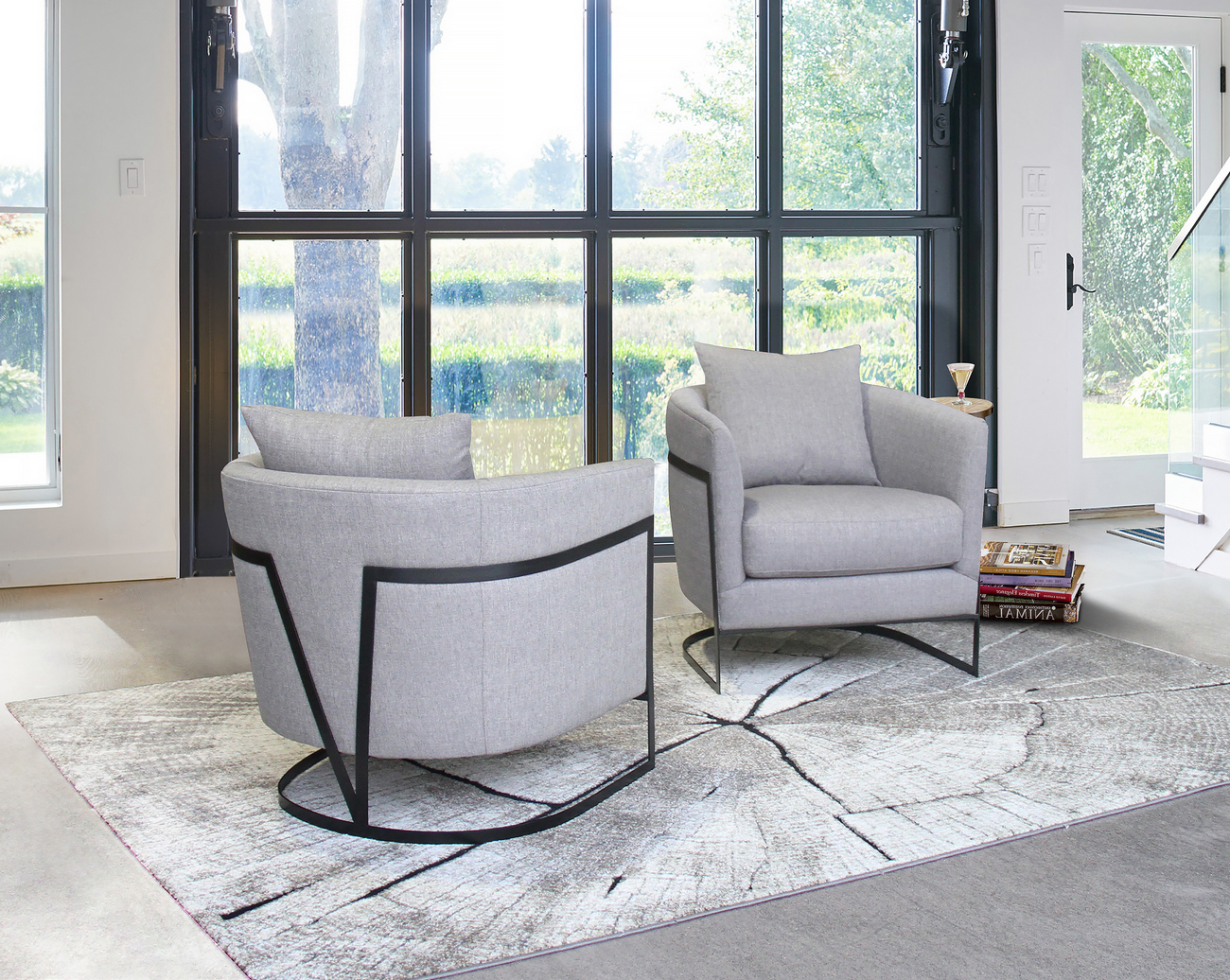 Armen Living Swan Contemporary Accent Chair Black Iron Finish Grey Fabric
