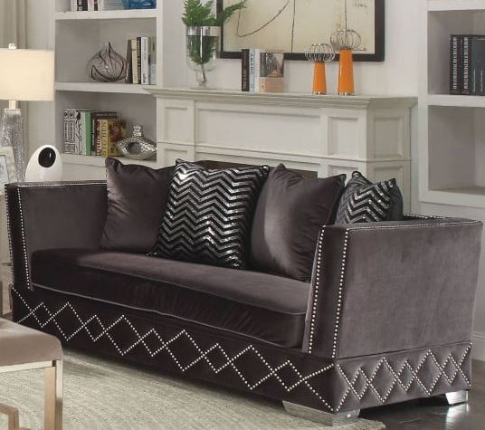 Acme Tamara Loveseat Pillows Charcoal Velvet
