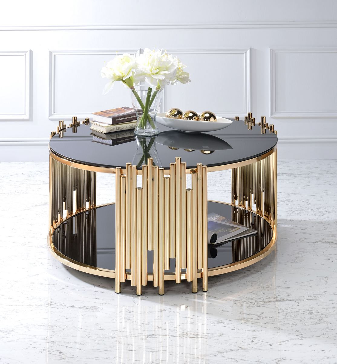 Acme Tanquin Coffee Table Gold Black Glass