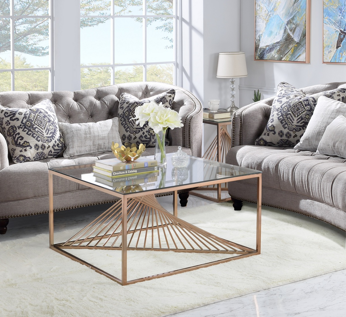 Furniture | Copper | Coffee | Clear | Brush | Glass | Table