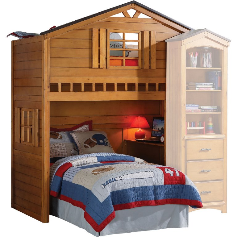 Acme Tree Loft Bed Twin Bottom Bed Not Included Rustic Oak