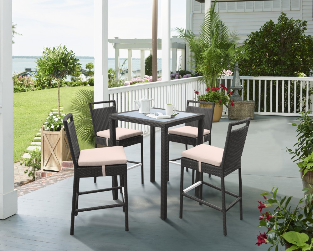 Armen Living Tropez Outdoor Patio Wicker Bar Set Table Barstools