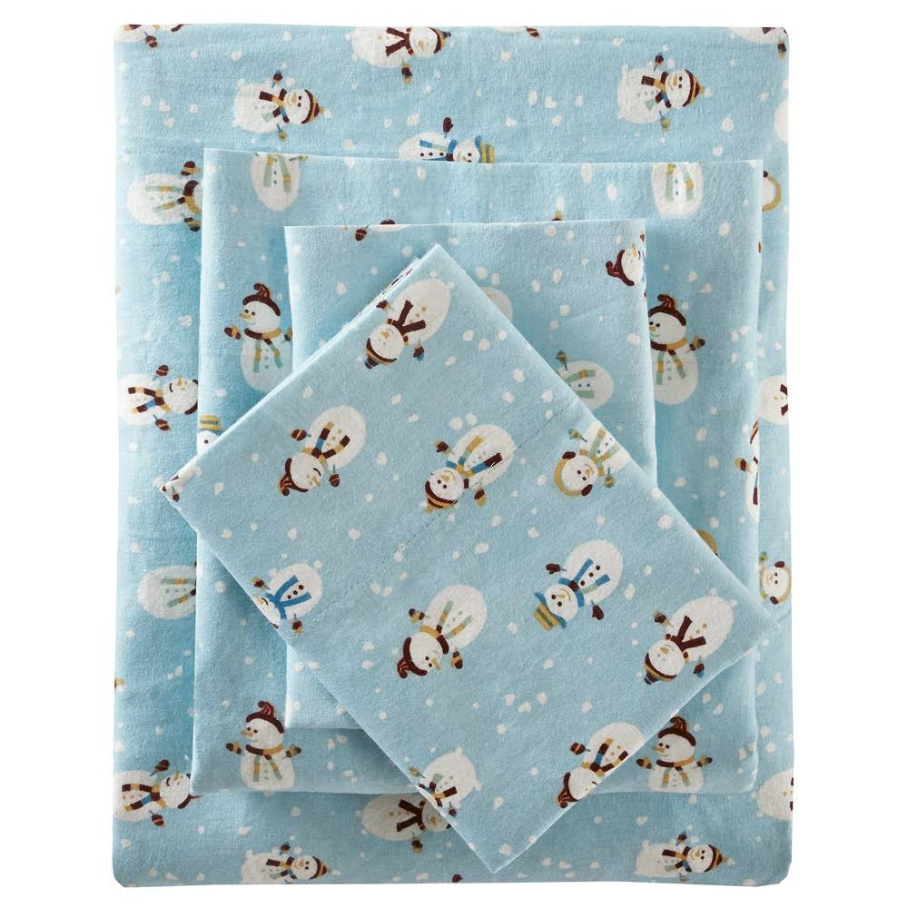 True North by Sleep Philosophy Cozy Flannel King Sheet Set in Blue Snowmen - Olliix TN20-0099
