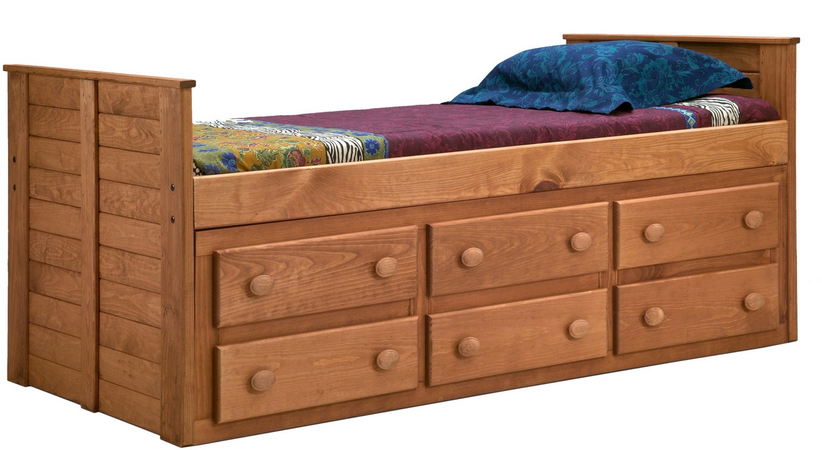 Chelsea Home Twin Bed Drawers Mahogany Stain
