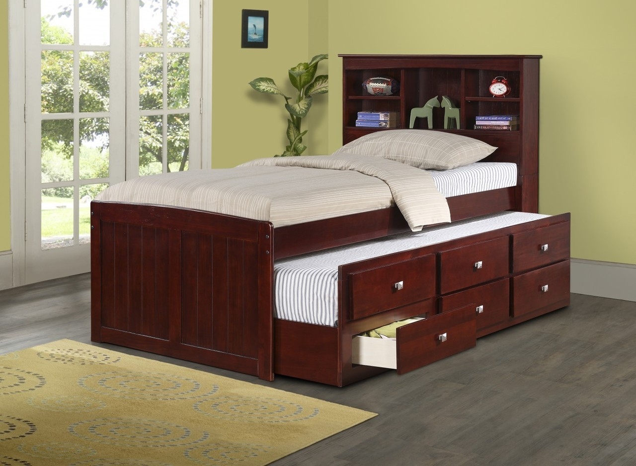 Donco Kids Twin Bookcase Captains Trundle Bed Dark Cappuccino
