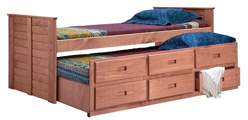Chelsea Home Twin Captain Bed Twin Trundle Mahogany Stain
