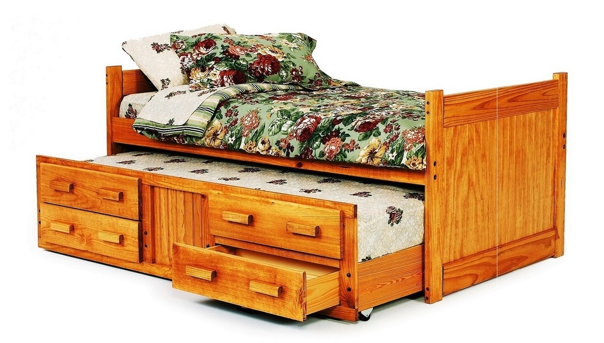 Chelsea Home Twin Captains Bed Trundle Storage Honey