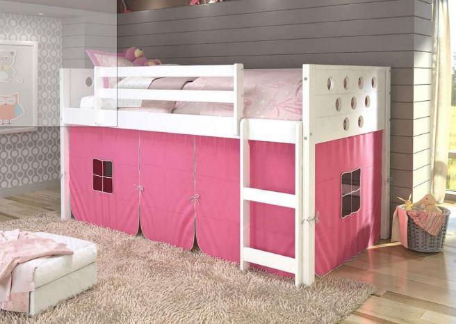 Circles White Low Twin Loft w/ Pink Tent - Donco 780A-TW_750C-TP
