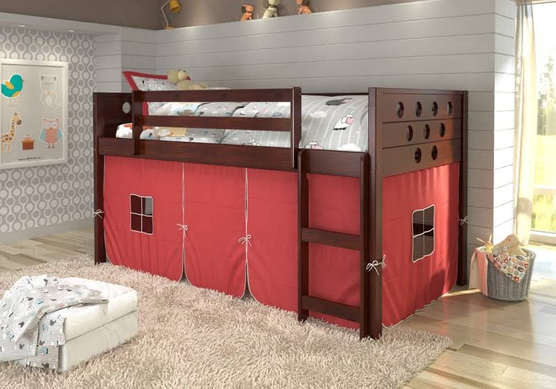 Circles Dark Cappuccino Low Twin Loft w/ Red Tent - Donco 780A-TCP_750C-TR