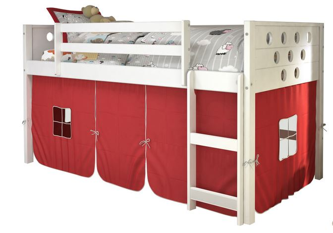 Circles White Low Twin Loft w/ Red Tent - Donco 780A-TW_750C-TR