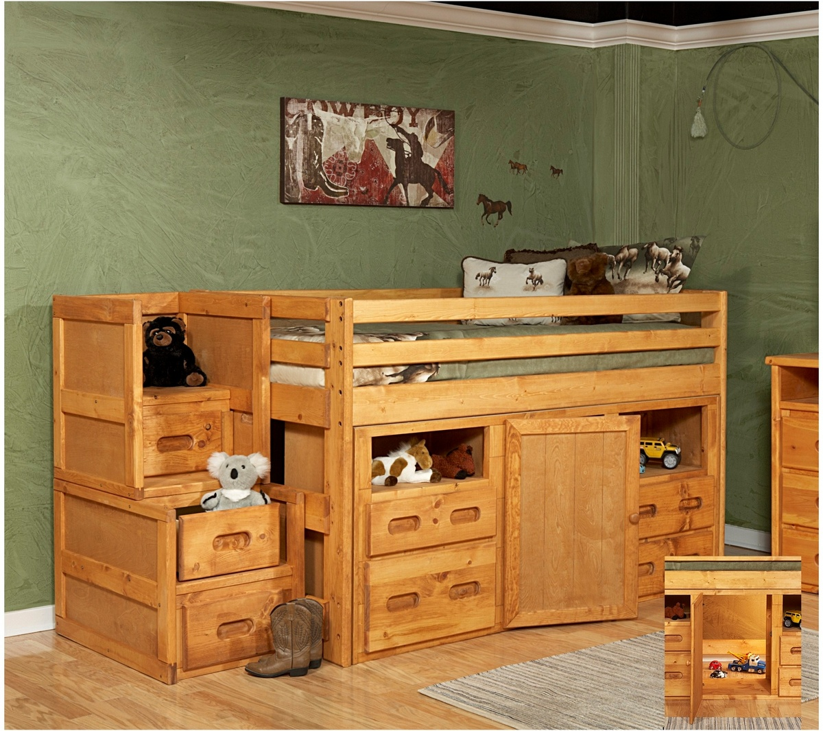Twin Junior Bed Storage Chest Cinnamon