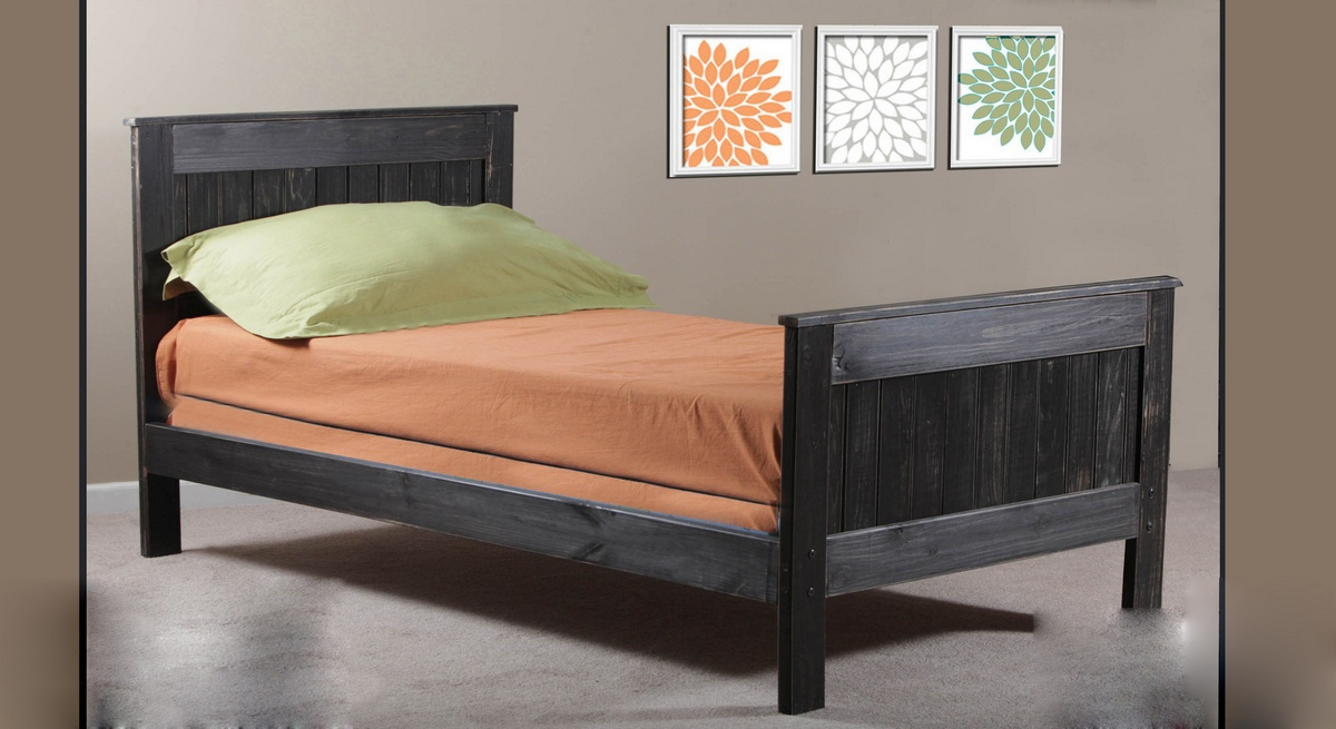 Chelsea Home Twin Mates Bed Black Distressed