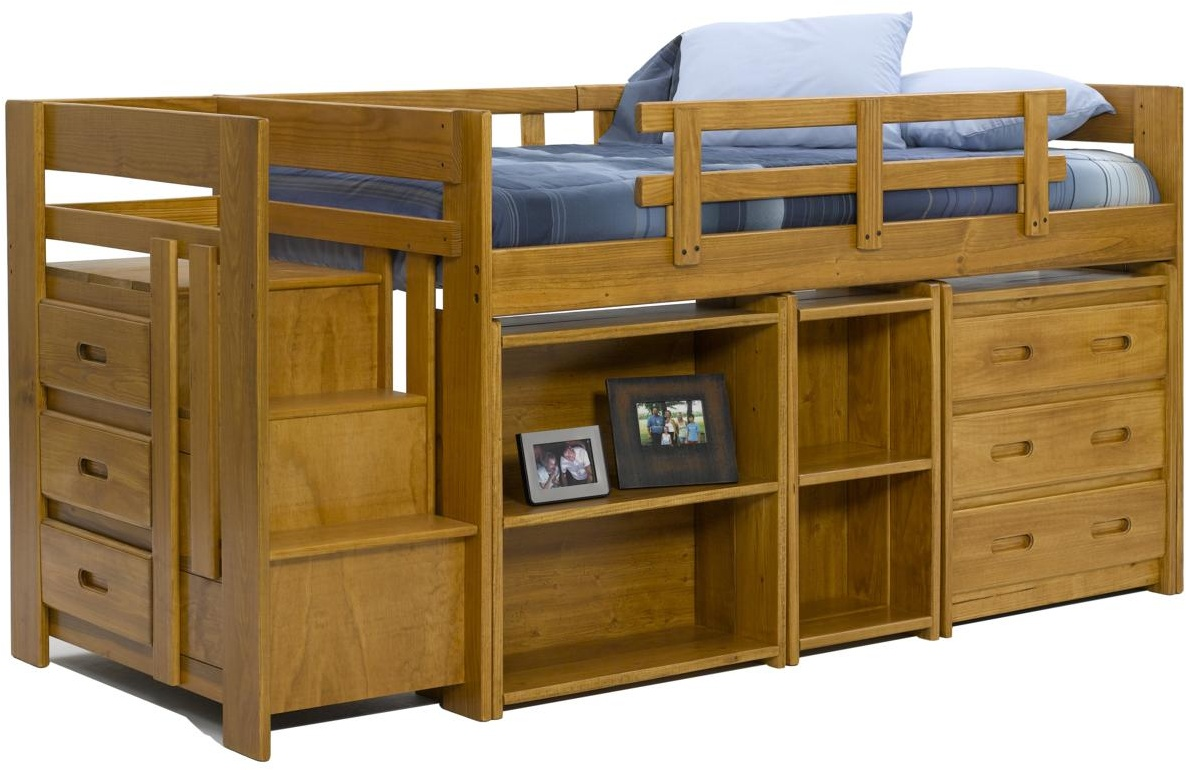 Chelsea Home Twin Mini Loft Bed Storage Honey