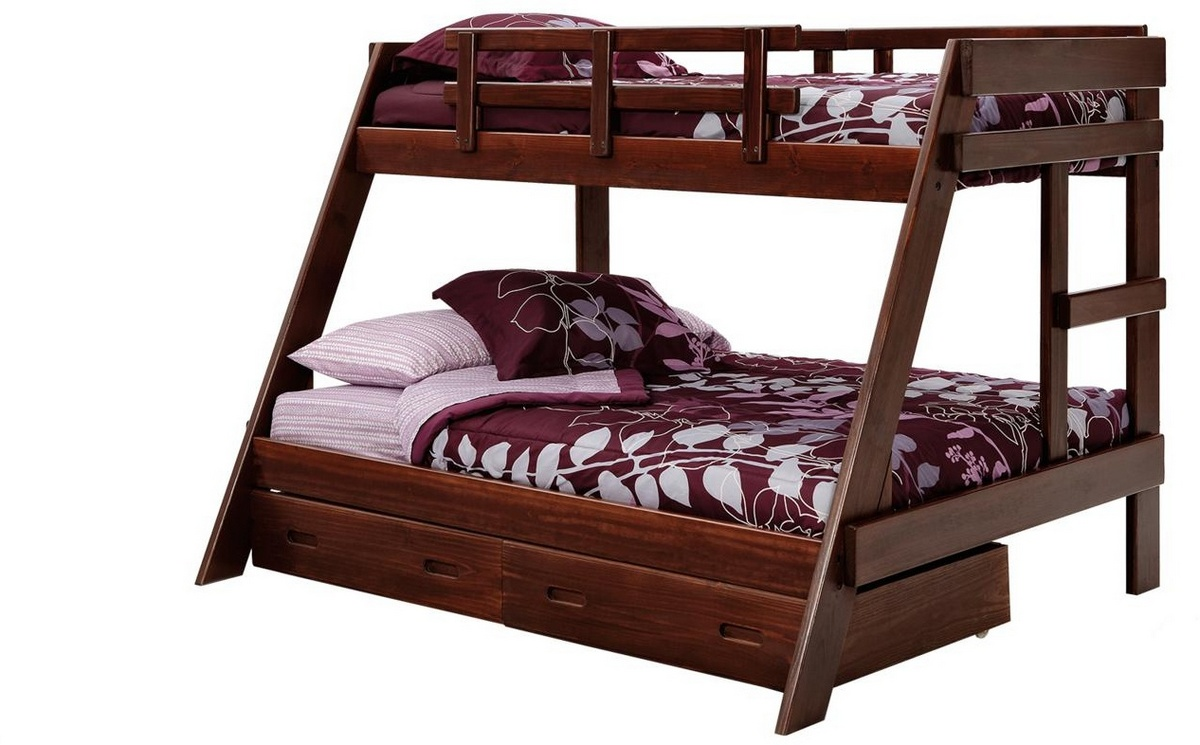 Chelsea Home Twin Over Full Frame Bunk Underbed Storage Dark
