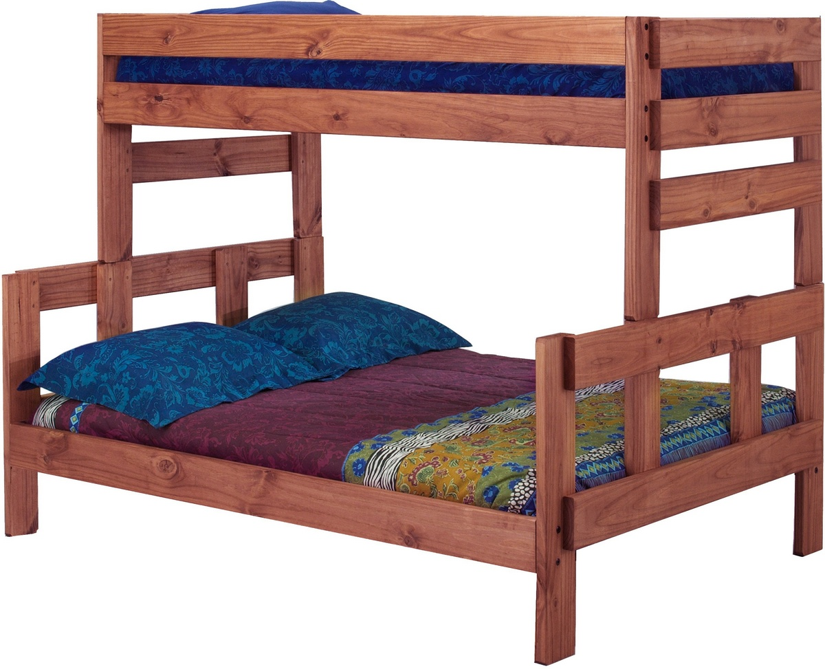 Chelsea Home Twin Over Full Bunk Bed Mahogany Stain