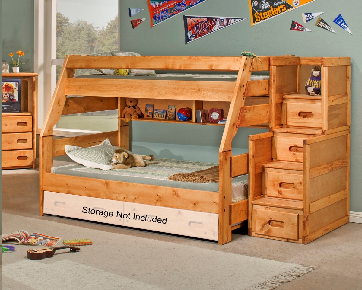 Twin Bunk Bed Stairway Chest Cinnamon