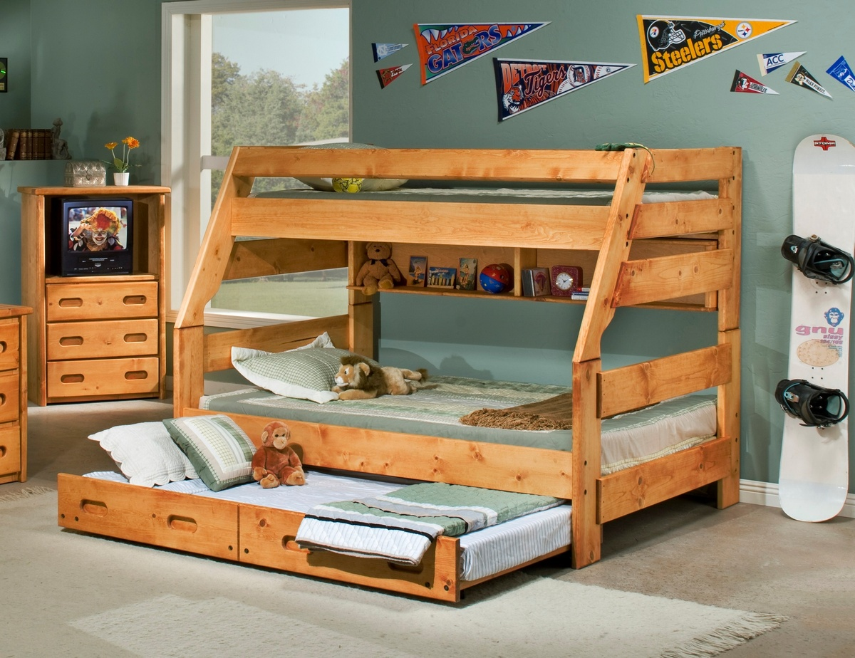 Twin Bunk Bed Trundle Cinnamon