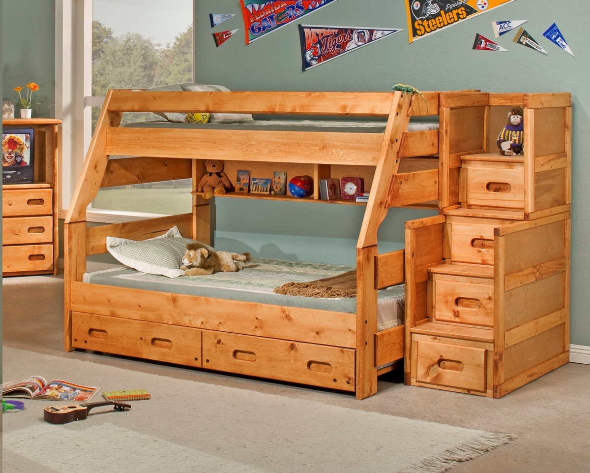Twin Bunk Bed Trundle Chest Cinnamon
