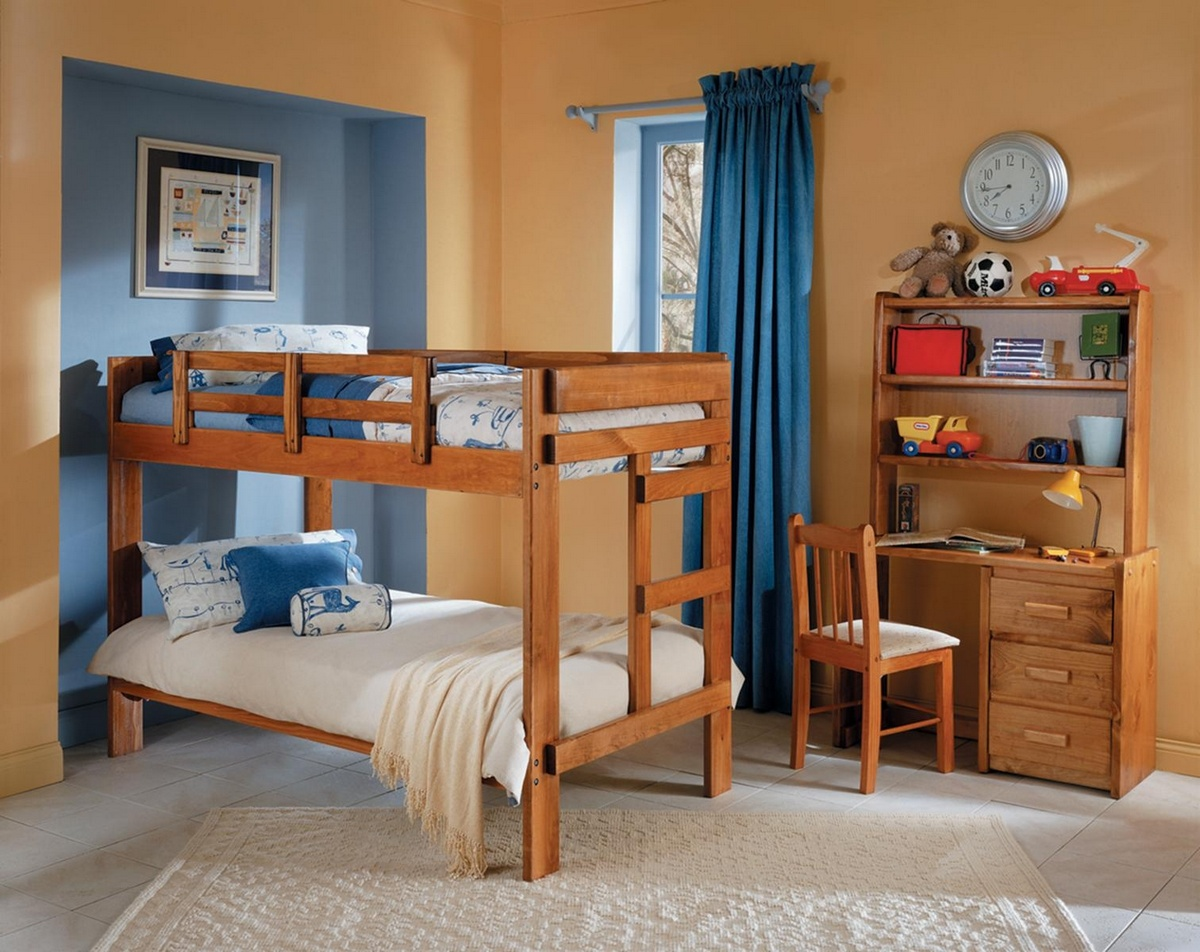 Chelsea Home Twin Over Twin Bunk Bed Honey