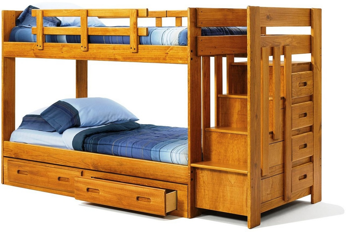 Chelsea Home Twin Over Twin Bunk Bed Reversible Staircase Underbed