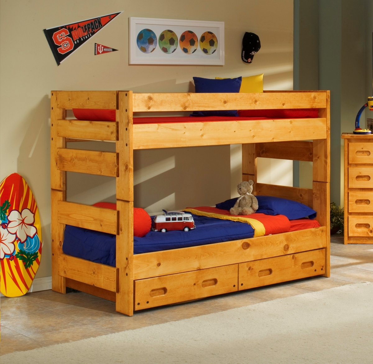 Chelsea Home Twin Over Twin Bunk Bed Trundle Cinnamon