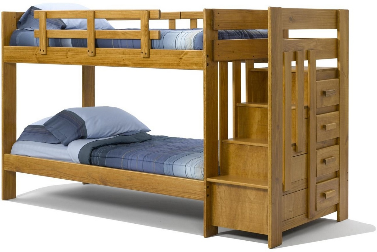 Chelsea Home Twin Over Twin Bunk Reversible Stairway Chest Honey