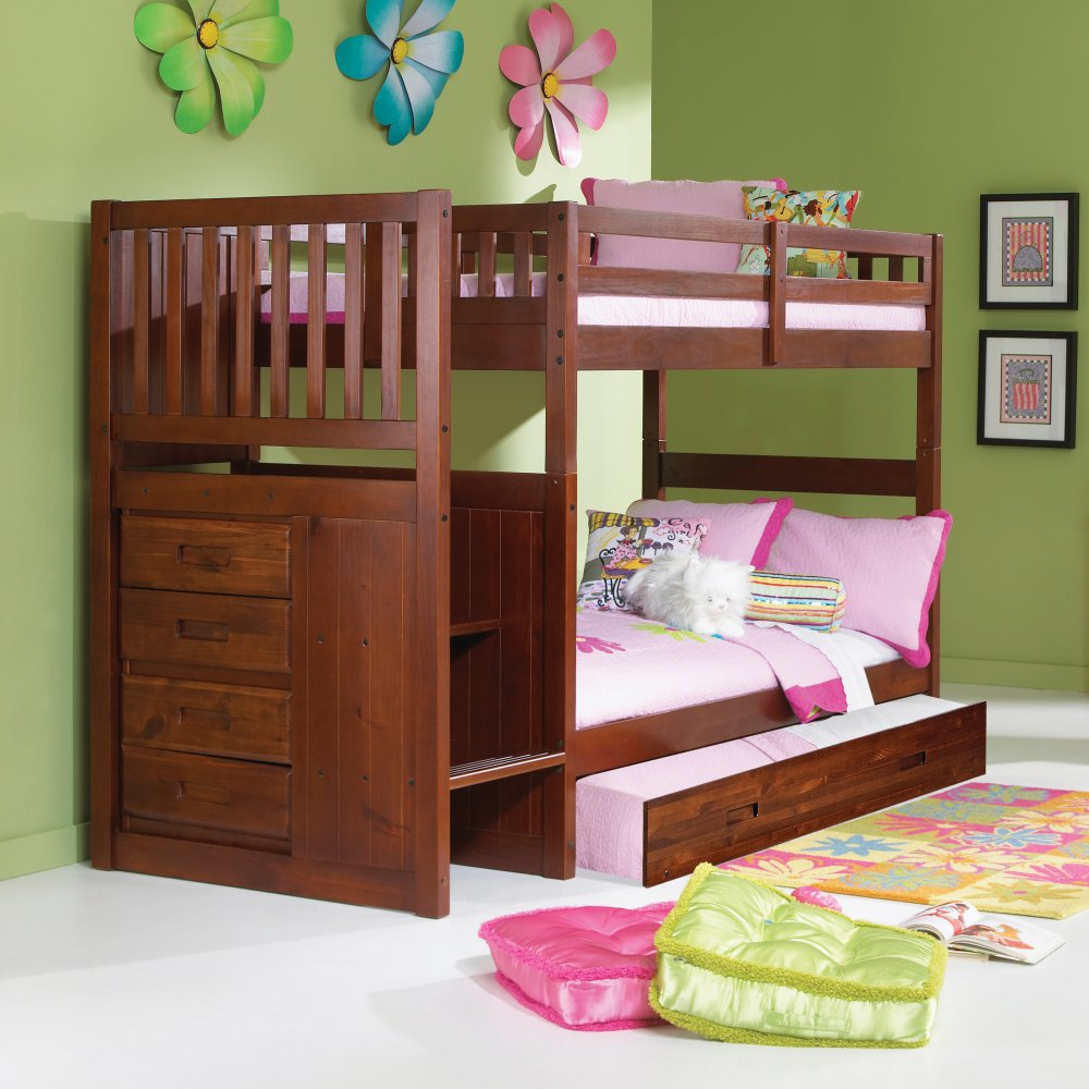 Donco Kids Twin Stair Bunkbed Twin Trundle