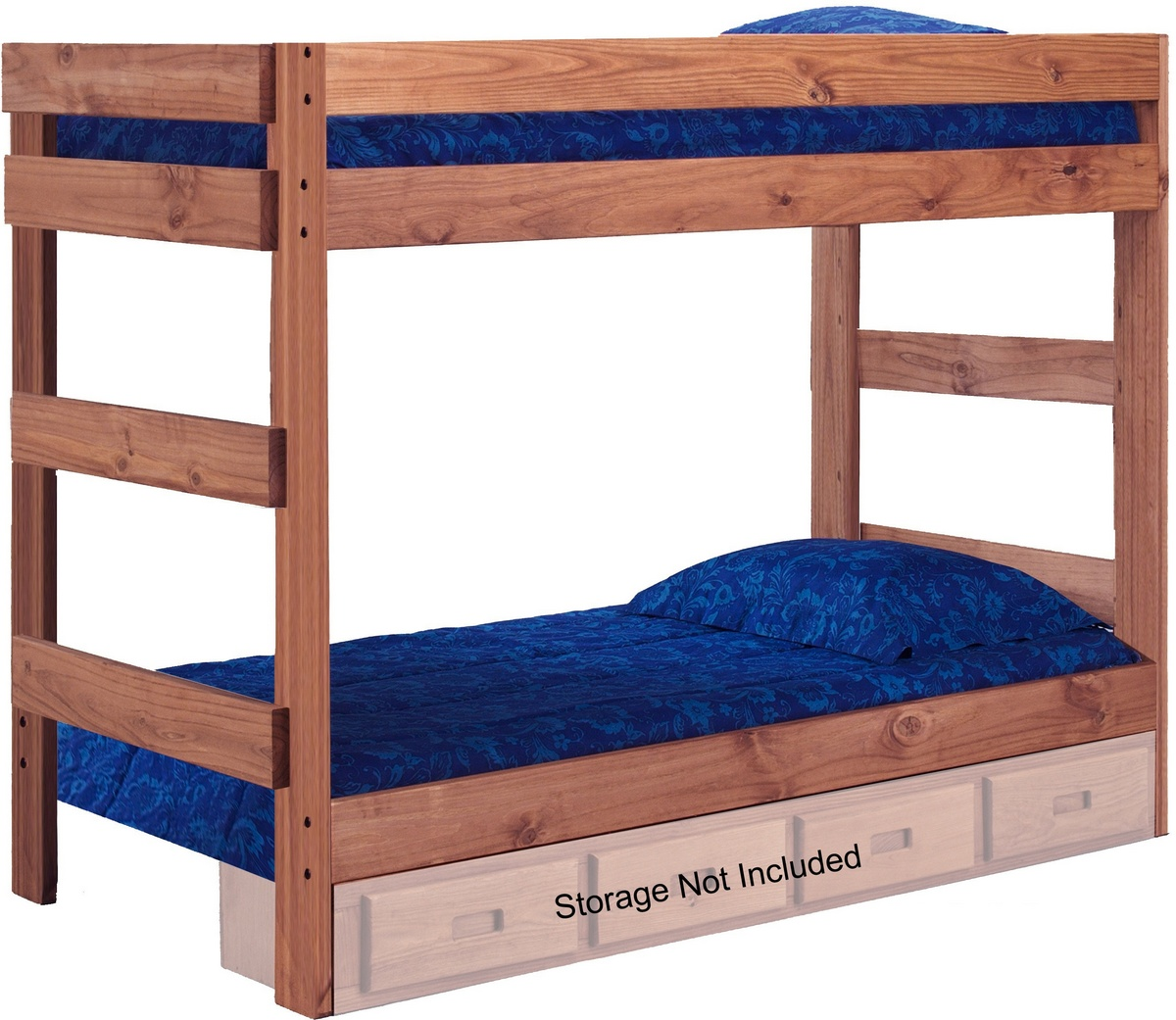 Chelsea Home Twin Over Twin One Bunk Bed Mahogany Stain