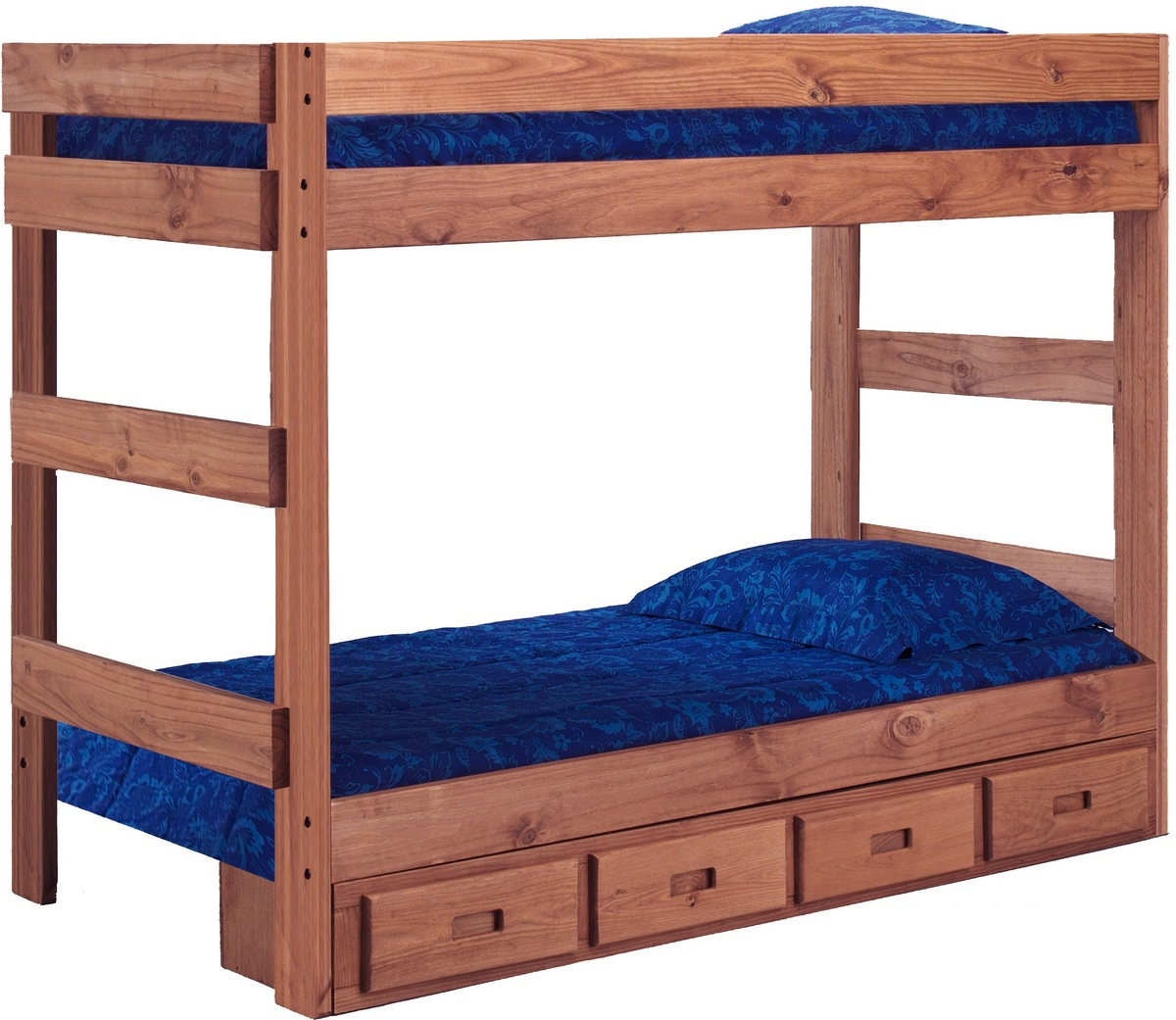 Chelsea Home Twin One Bunk Bed Storage Mahogany Stain