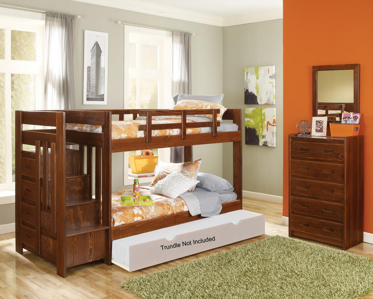 Chelsea Home Twin Over Twin Reversible Stair Bunk Bed Dark