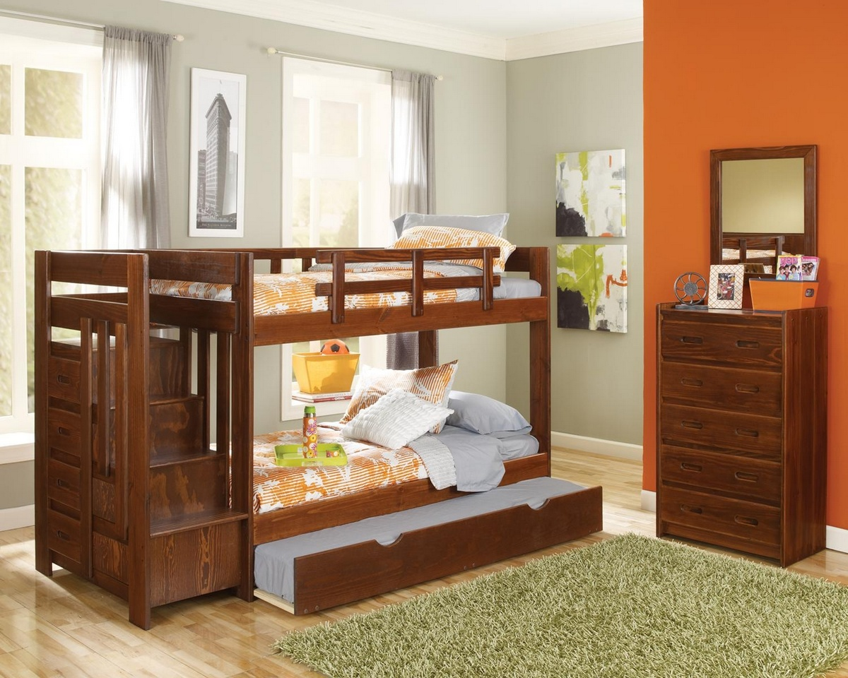 Chelsea Home Twin Over Twin Reversible Stair Bunk Bed Trundle Dark